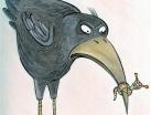 Vogel mit Raupe